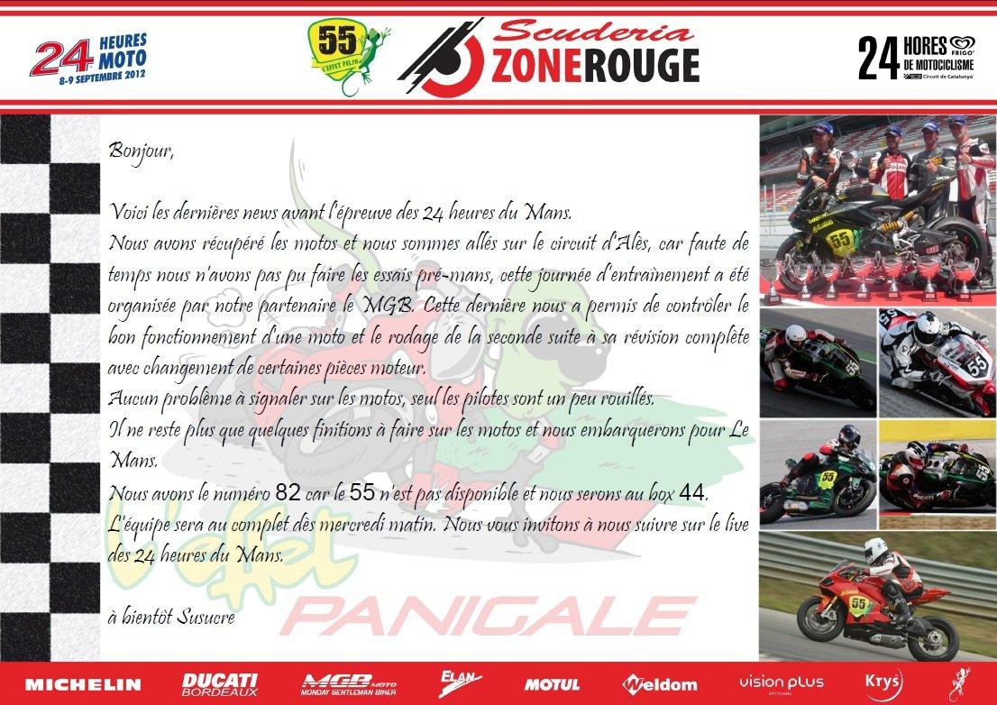 Dans quelques jours le Team Scuderiazonerouge au 24h Moto du Mans.  dans Team CR-28-08-2012